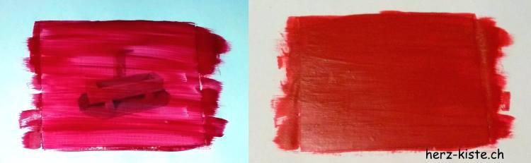 Gutschein Bild übermalen mit Rubellos-Farbe-Mischung