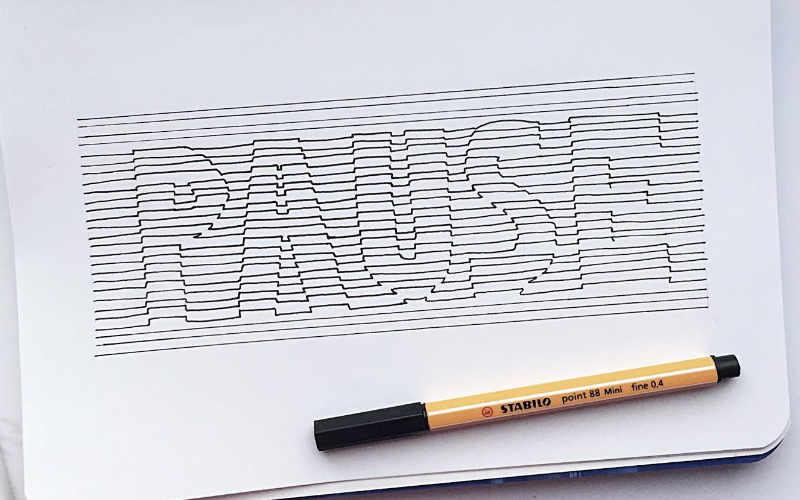 Pause - Lettering in 3D nur aus einzelnen Linien