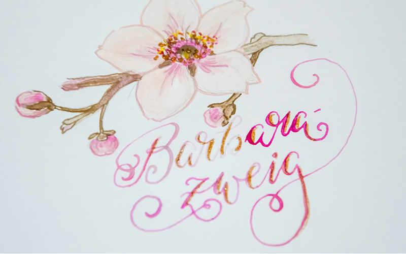 Barbarazweig - Handlettering mit gemalter Blume