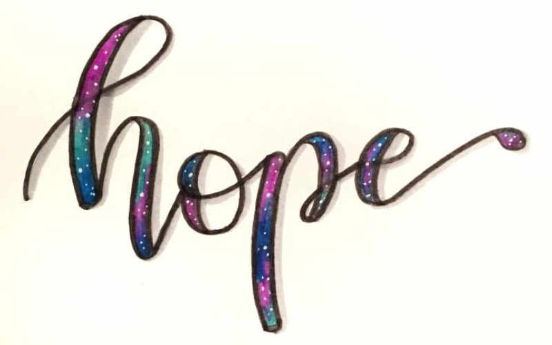 hope - Handlettering im Galaxy Stil