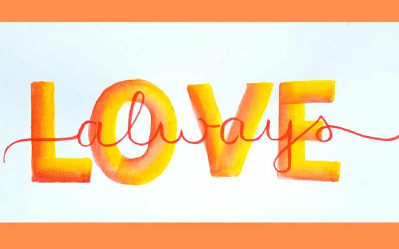 love always - Handlettering mit einem Kosmetikschwamm