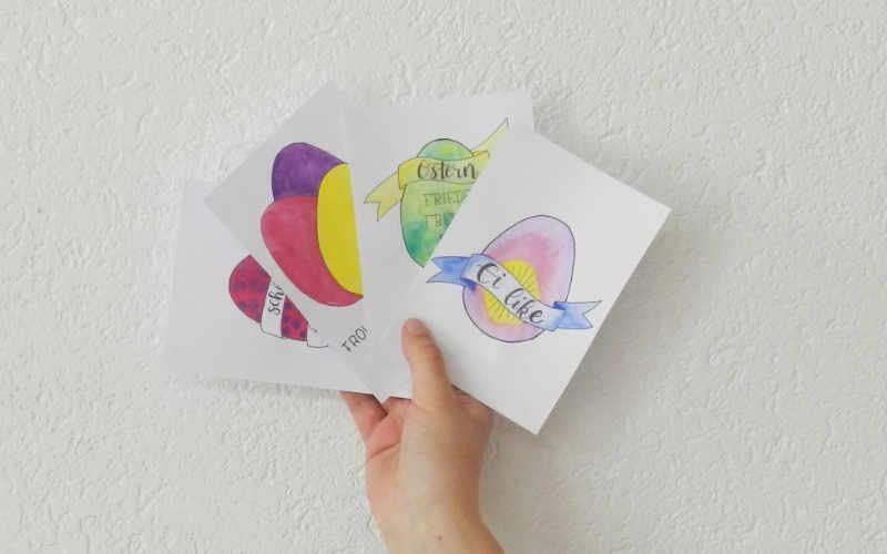 Handlettering Osterkarten: gratis Printable