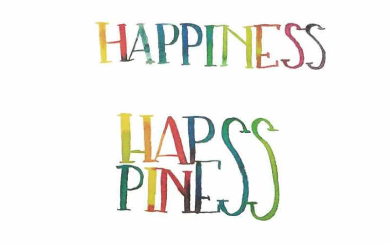 Happiness - buntes Watercolor Lettering