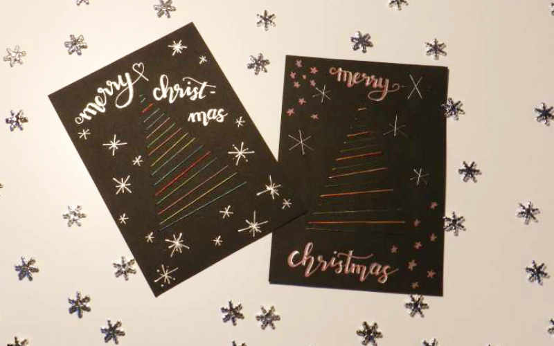 Weihnachtskarten sticken