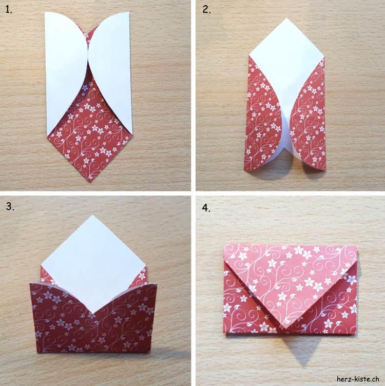 Brief falten aus einem Herz für ein Valentinstagsgeschenk