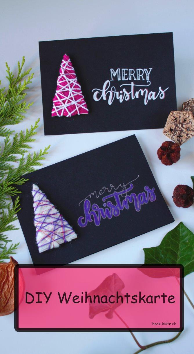 DIY Weihnachtskarte mit Handlettering und Tannenbäumen aus Wollresten