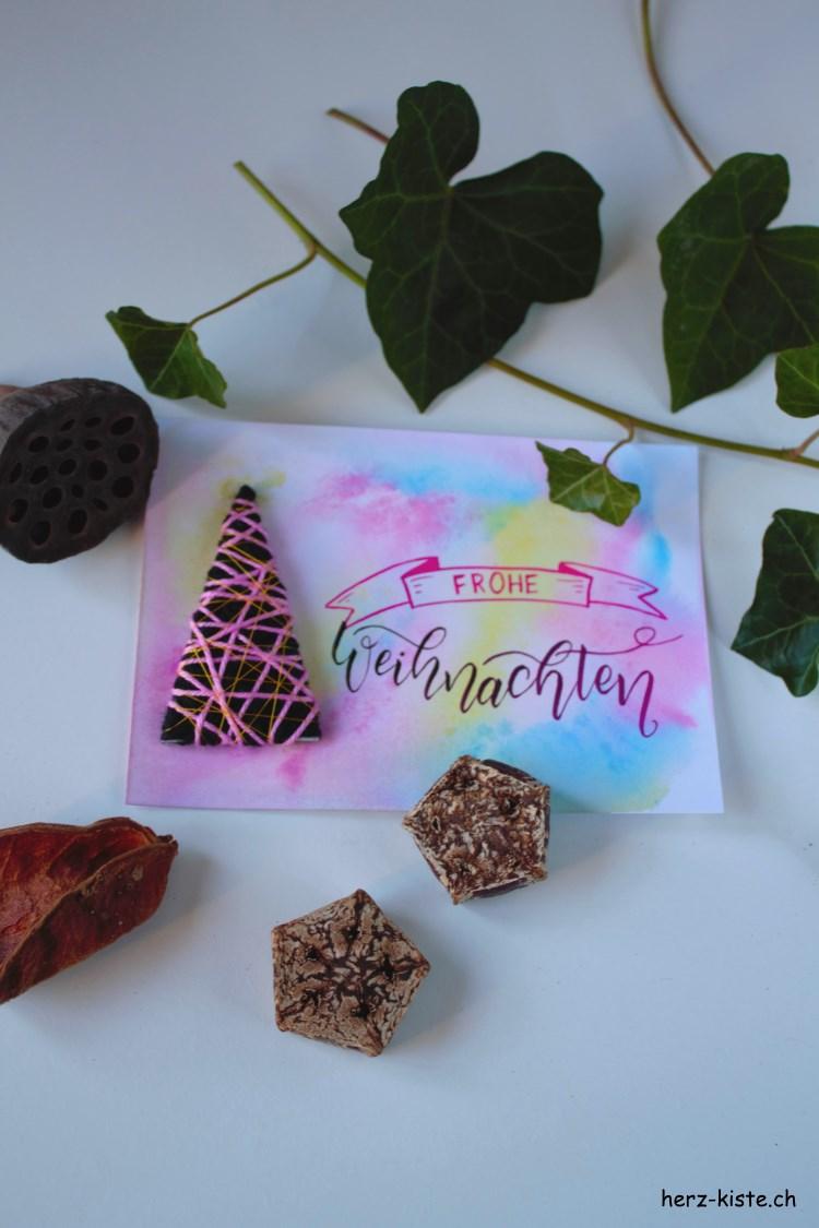Lettering Weihnachtskarte frohe Weihnachten