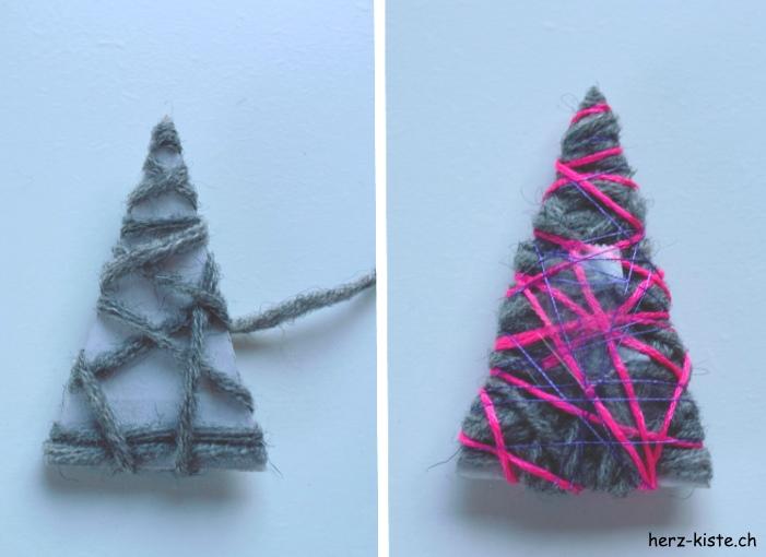 Karton umwickeln mit Wollresten für einen Tannenbaum