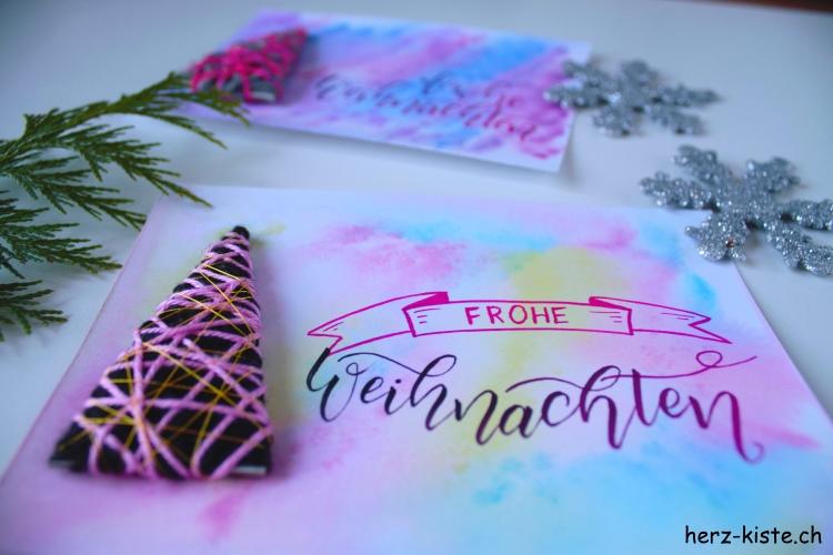 frohe Weihnachten - bunte Handlettering Weihnachtskarte