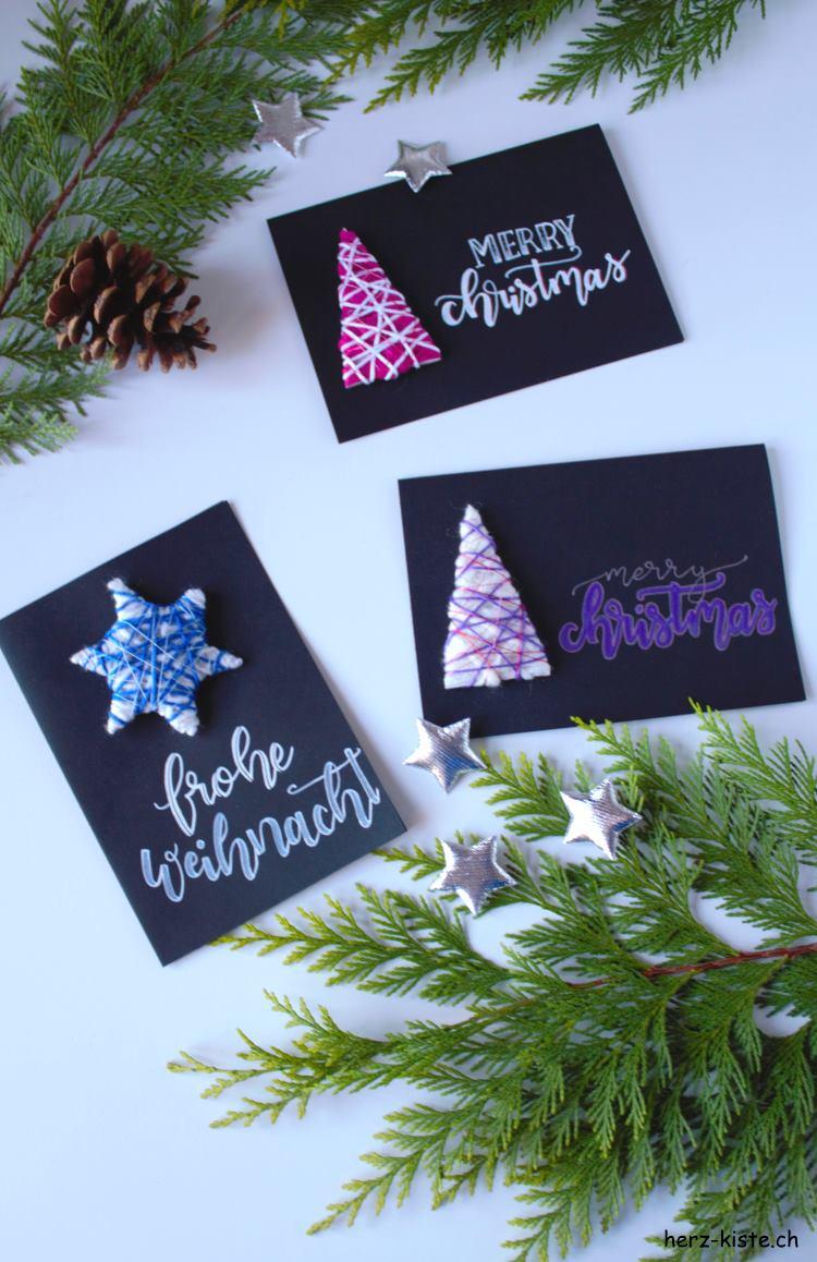 schwarze Weihnachtskarten mit Handlettering