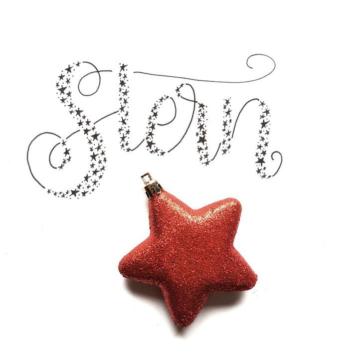 Stern - Handlettering mit Sternchen im Faux Calligraphy Stil