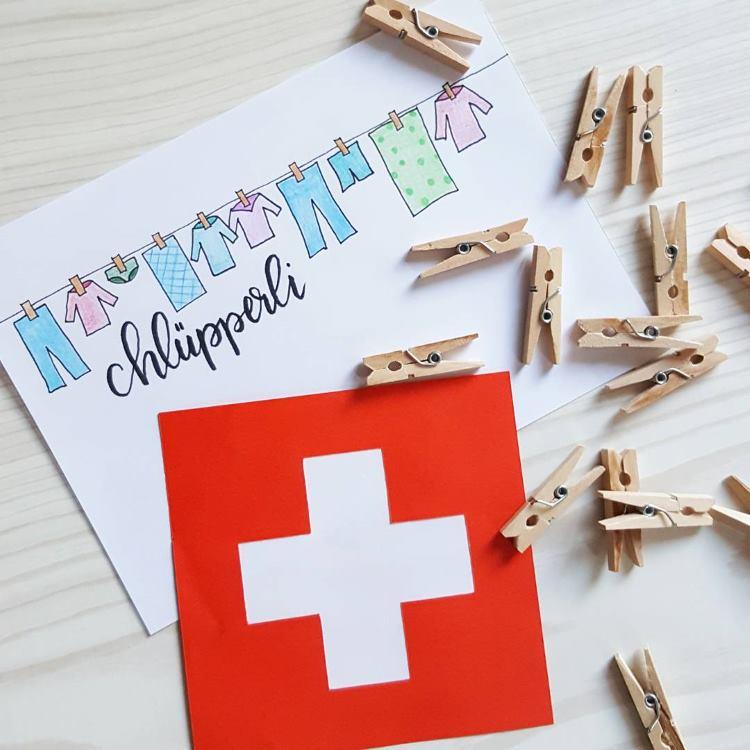 Chlüpperli: Wäscheklammer - Lettering auf schweizerdeutsch