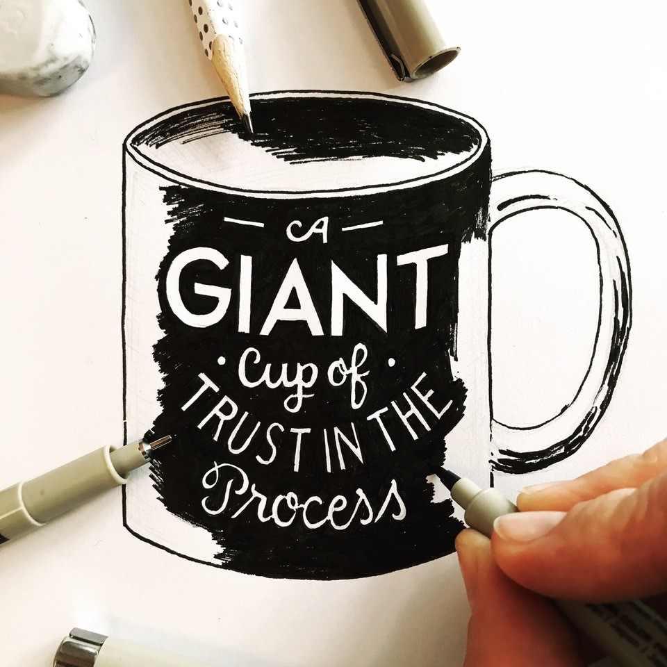 Zeichnung und Handlettering einer Kaffee Tasse