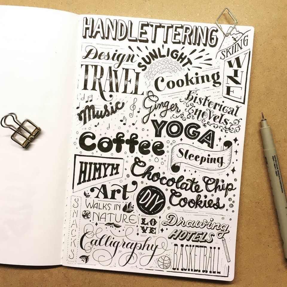 Handlettering mit Hobbys und persönlichen Sachen auf einer Seite