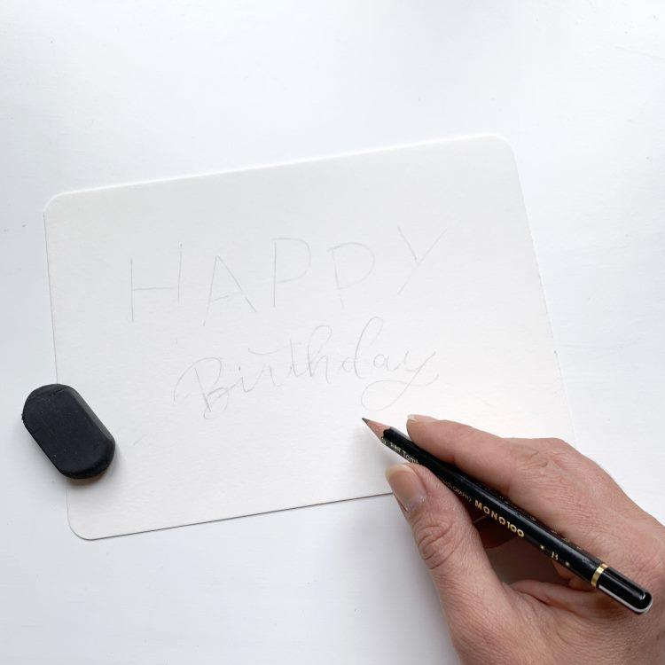 Skizze für eine Geburtstagskarte mit Lettering