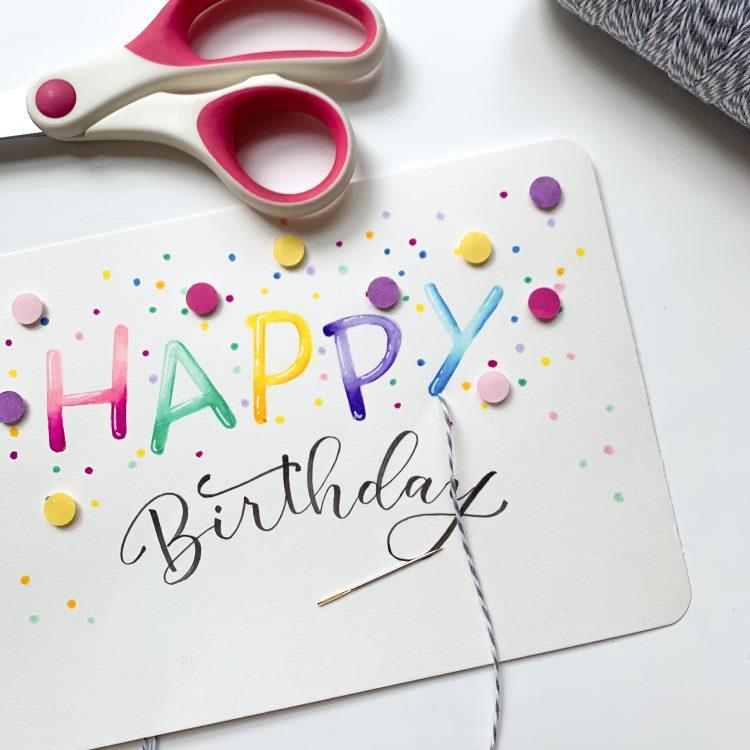 Geletterte Geburtstagskarte - Faden durch Löcher ziehen