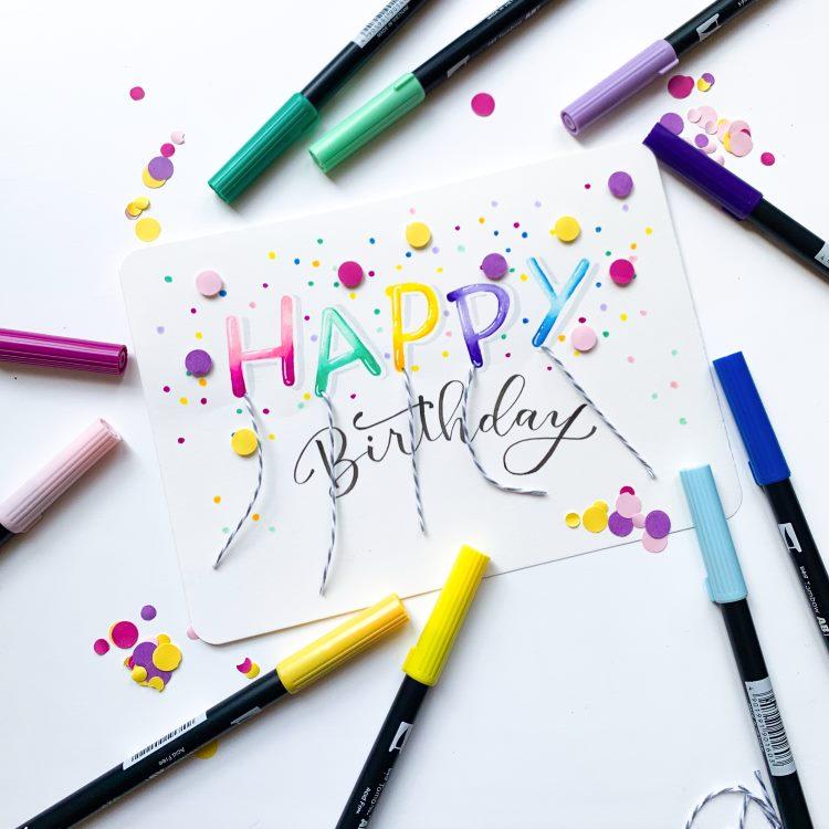 Happy Birthday Geburtstagskarte mit Lettering und Konfetti