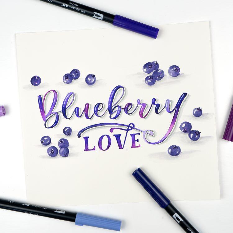Brushlettering mit Blending und gemalten Früchten - Blueberry love