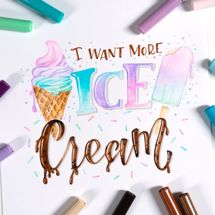Handlettering mit Blending und gemaltem Eis - I want more Ice cream