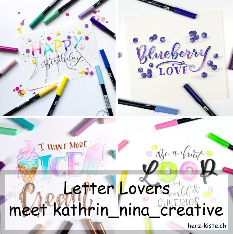 Zusammenstellung mehrerer Letteirngs von kathrin_nina_creative als Titelbild für den Interview Beitrag der Letter Lovers