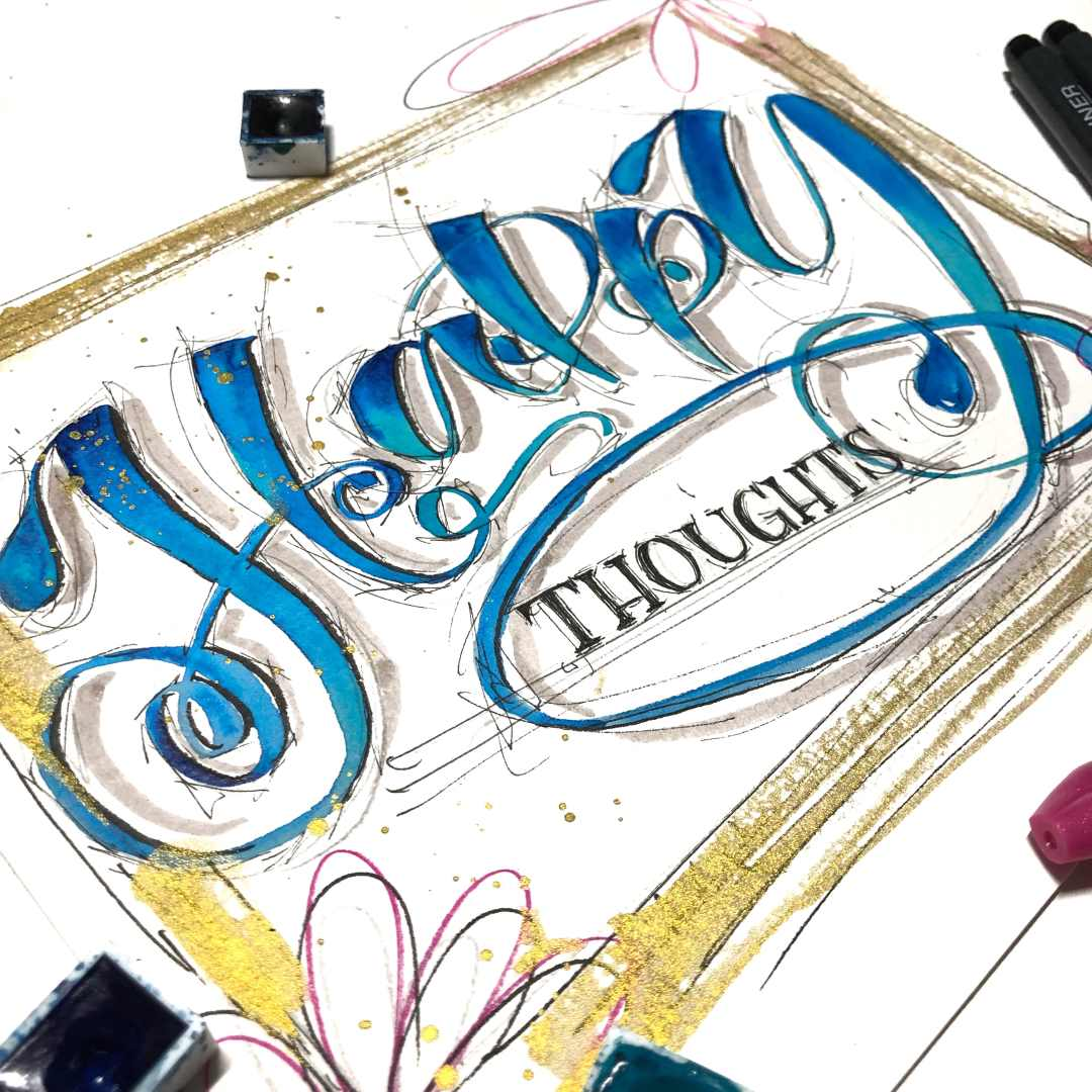 Handlettering Karte - Happy thoughts