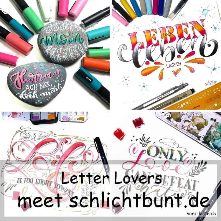 Zusammenstellung mehrer Letterings für das Letter Lovers Interview mit schlichtbunt.de