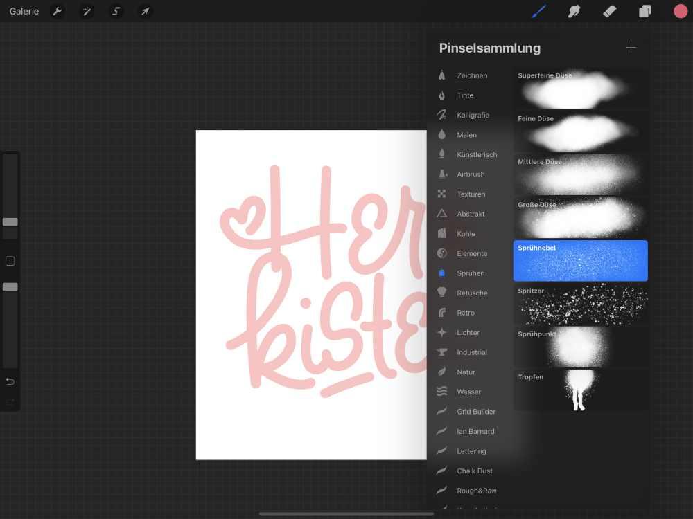 digitales Lettering mit Schattierungen erstellen auf dem iPad
