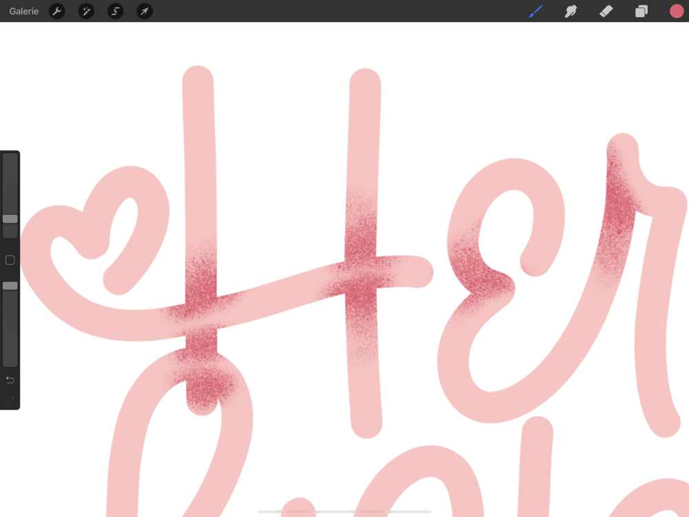 digitales Lettering schattieren mit Sprühnebel in Procreate