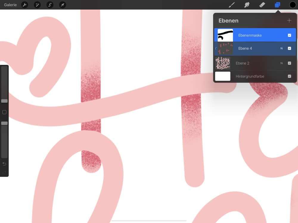digitales Lettering schattieren mit einer Ebenenmaske auf dem iPad mit procreate