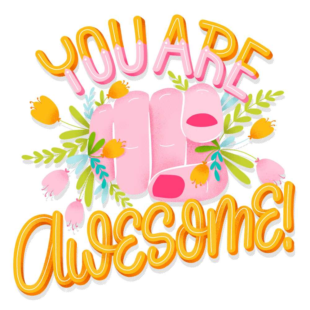 digitales, buntes Lettering - you are awesome