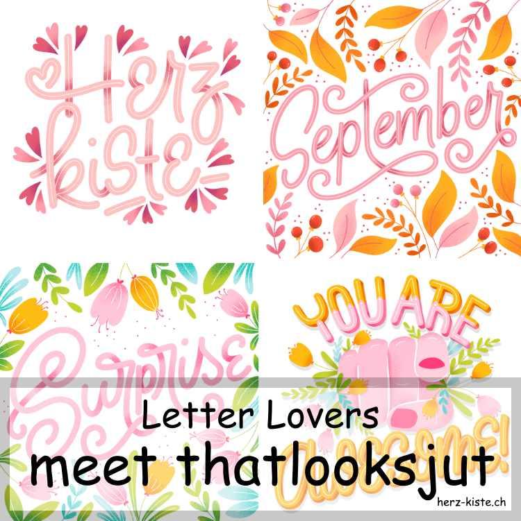 Zusammenstellung mehrerer Letterings von thatlooksjut als Titelbild