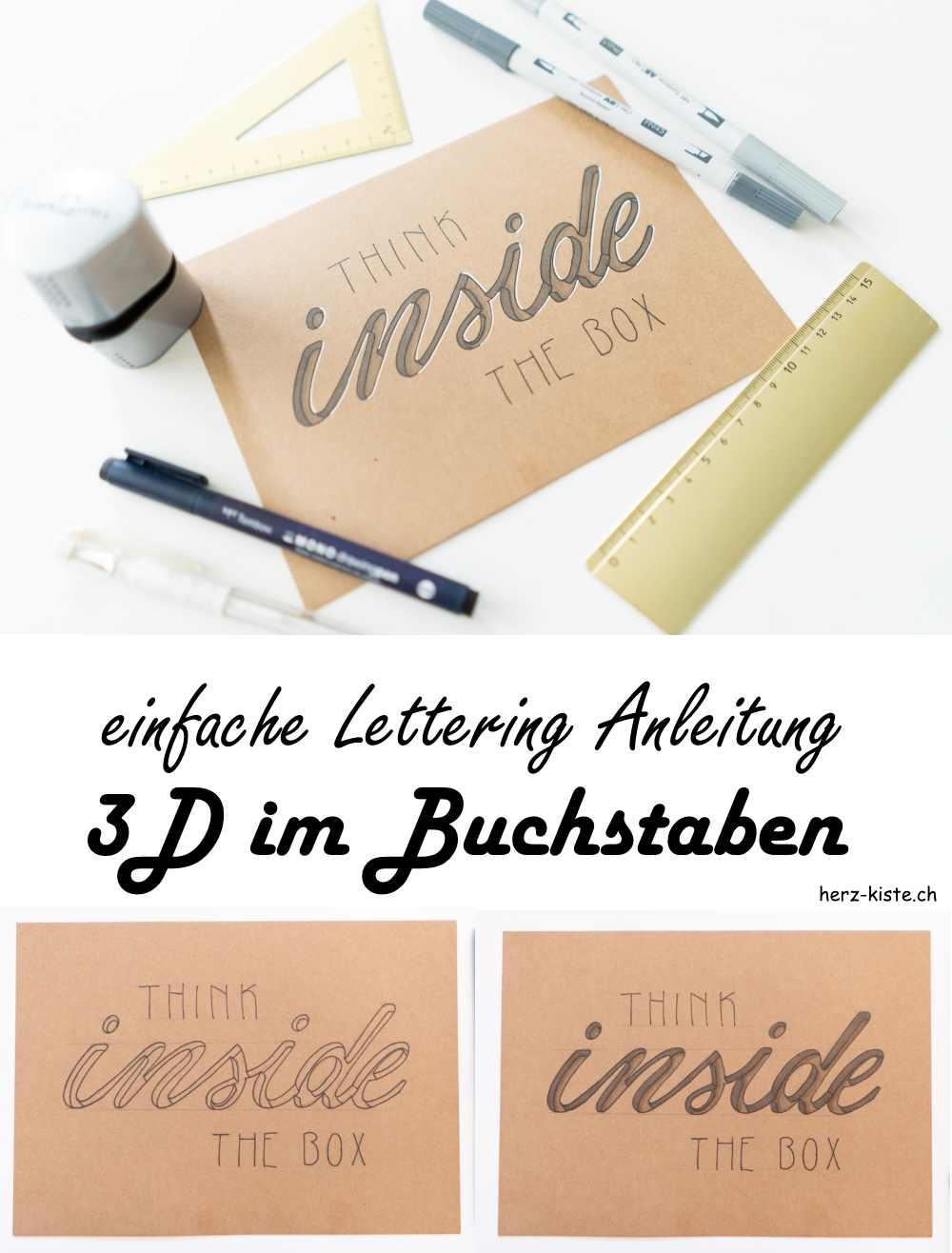 eine einfache Lettering Anleitung wie du einen 3D Effekt innerhalb vom Buchstaben gestalten kannst
