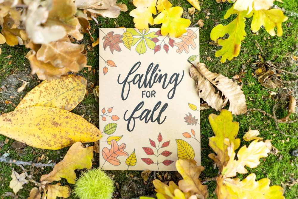 falling for fall - Lettering mit Herbstblättern