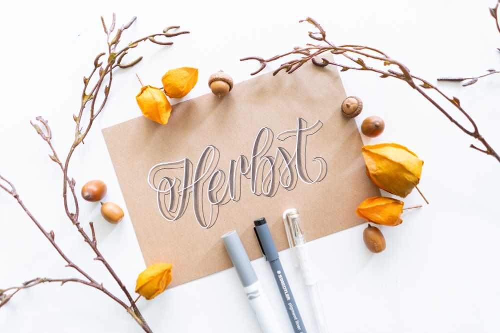 Herbst - Handlettering mit 3D Effekt