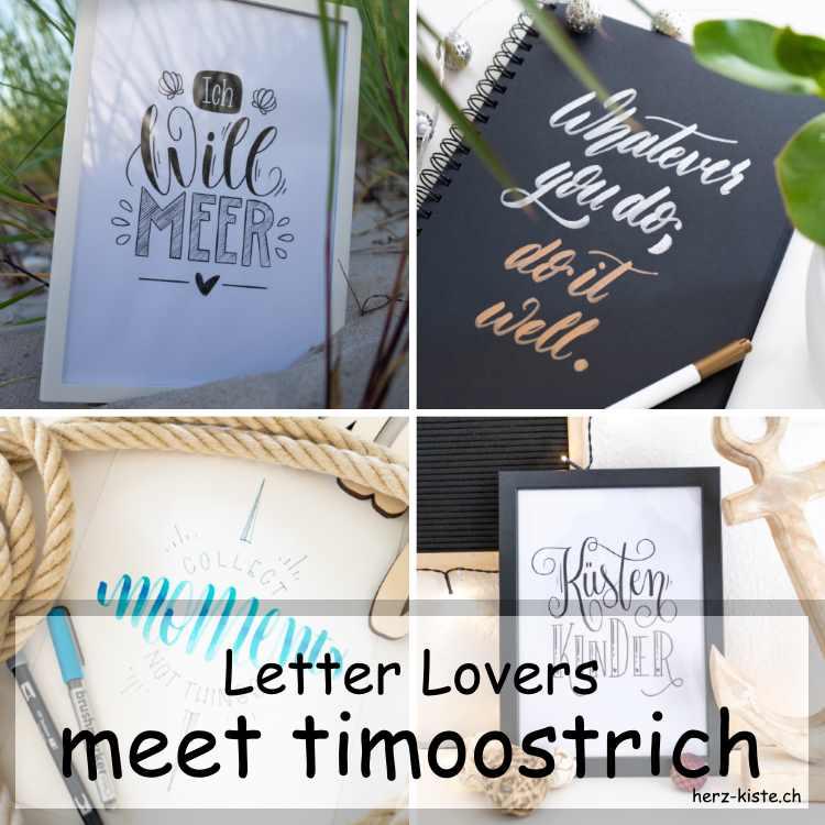 Zusammenstellung mehrerer Letterings von timoostrich als Titelbild für die Letter Lovers