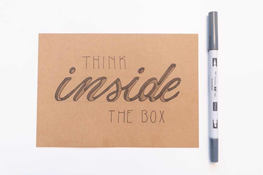 think inside the box Handlettering mit 3D Effekt
