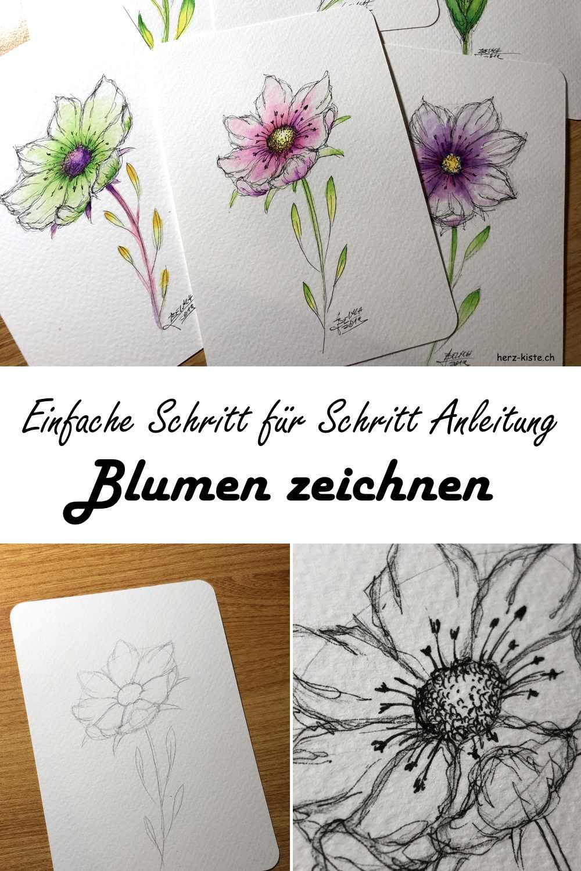 Einfache Schritt für Schritt Anleitung: Dank der Ellipsentechnik kannst du zauberhafte Blumen zeichnen - einfach erklärt und mit vielen Fotos zauberst auch du so schöne Bilder