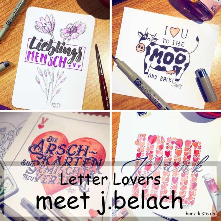 Zusammenstellung mehrerer Letterings von j.belach als Titelbild für die Interviewfolge der Letter Lovers