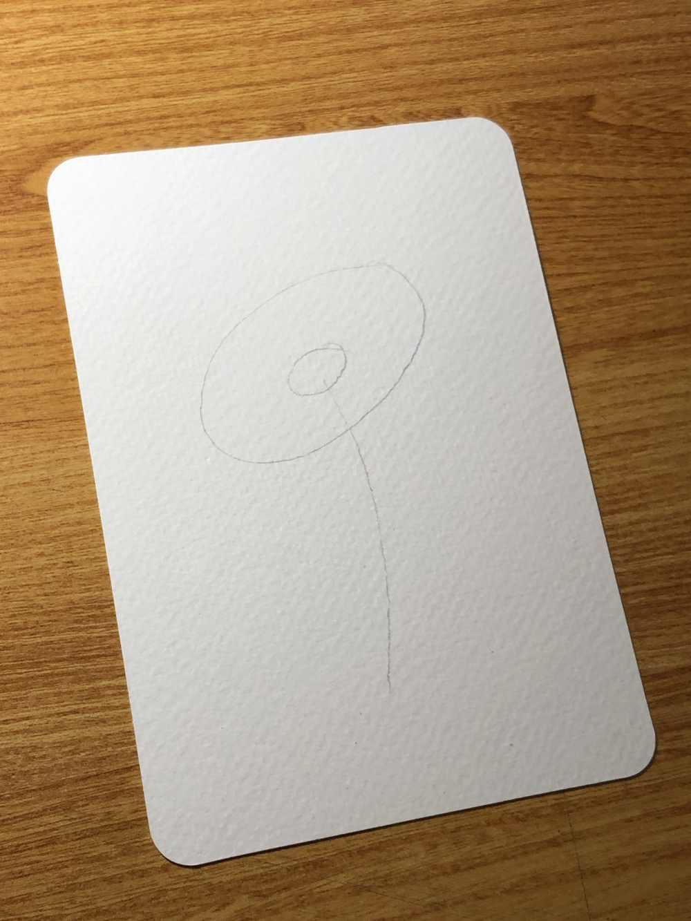 Skizzenbeginn einer einfachen Blume zum zeichnen