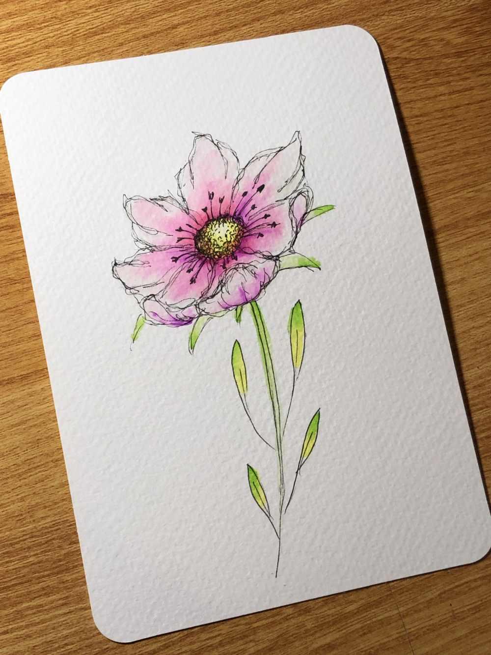 einfache bunte Blume dank der Ellipsentechnik selber zeichnen