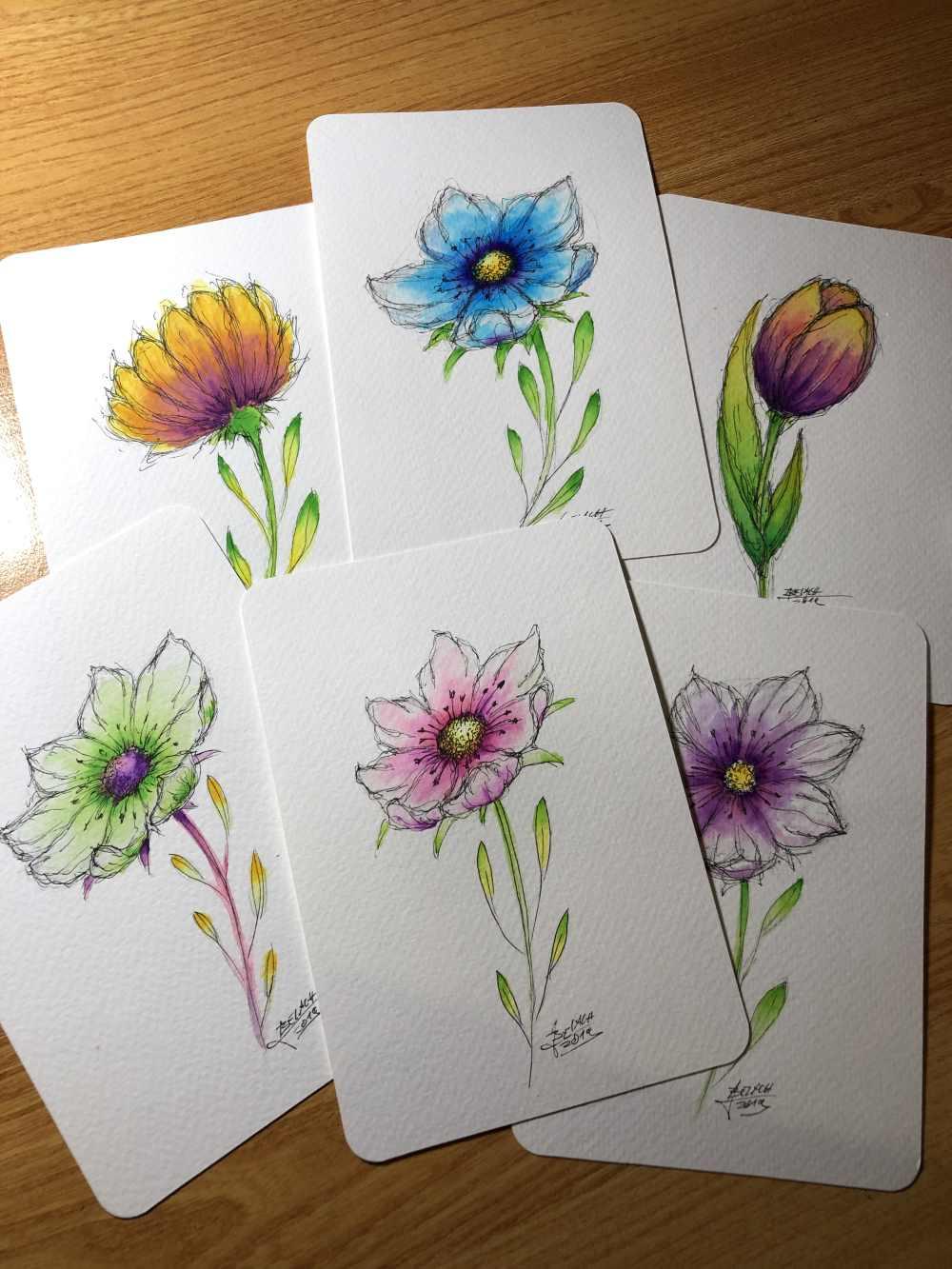 wunderschöne bunte Blumen gezeichnet mit der Ellipsentechnik - Schritt für Schritt