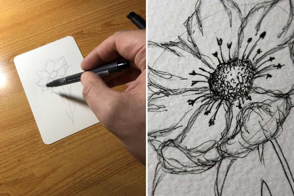 einfache und wirkungsvolle Blume zeichnen mit einem Fineliner und der Ellipsentechnik