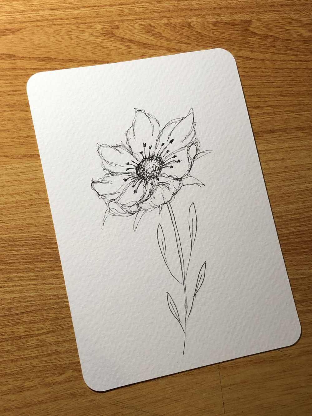 Blume in Schwarz Weiss einfach gezeichnet mit der Ellipsentechnik