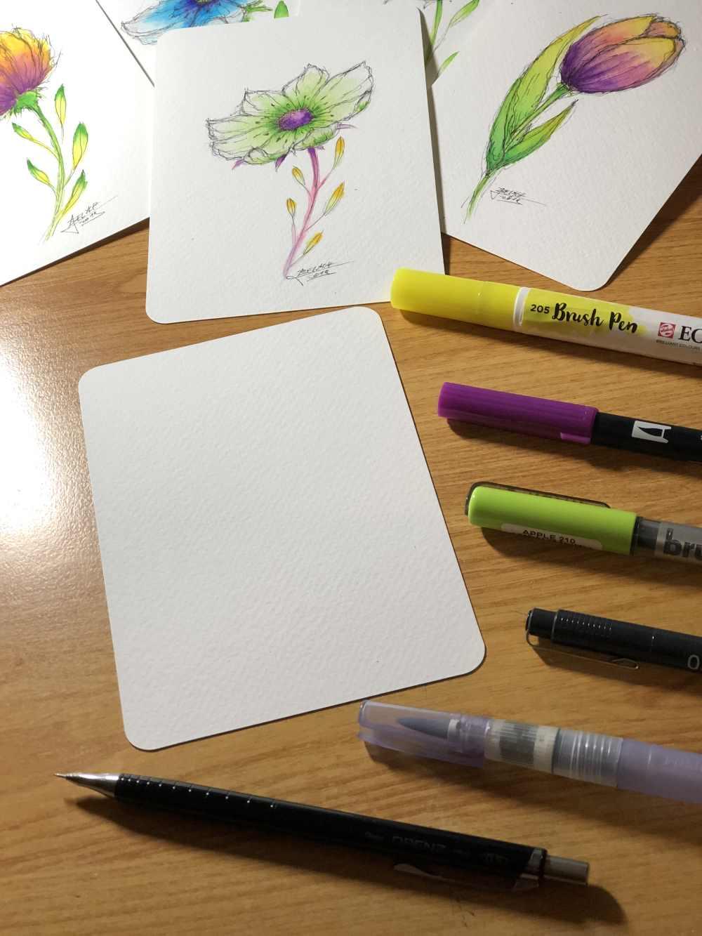 Material um Blumen zu zeichnen mit der Ellipsen Technik