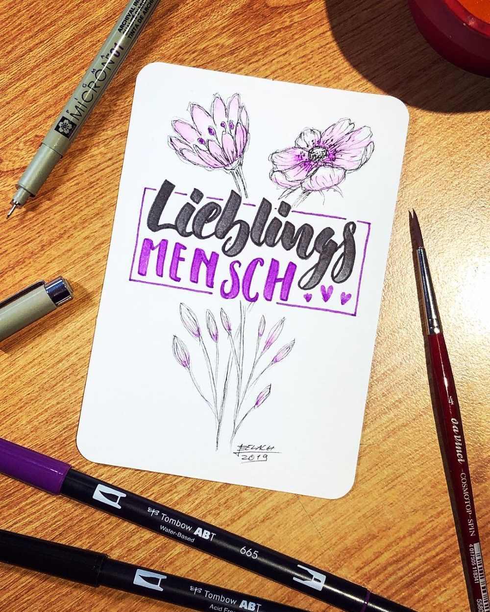 Lieblingsmensch - Handlettering mit gezeichneten Blumen