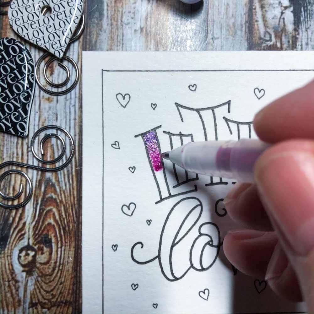 Blending Nahaufnahme - Lettering mit Glitter Gel Pens