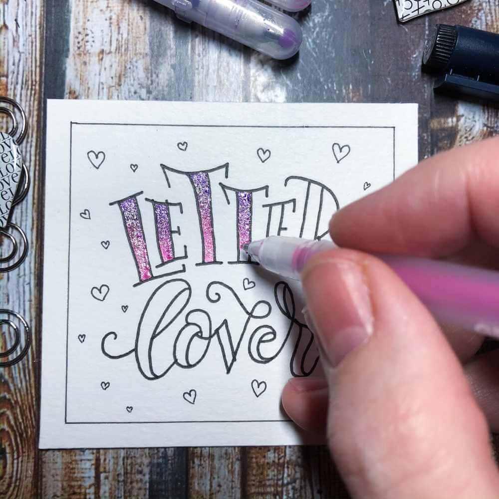 Buchstaben der Faux Calligraphy ausmalen um ein Blending zu gestalten