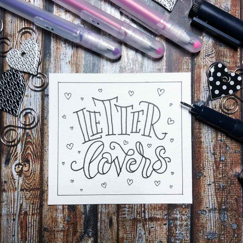 Lettering in Faux Calligraphy mit schwarzem Fineliner - Letter Lovers