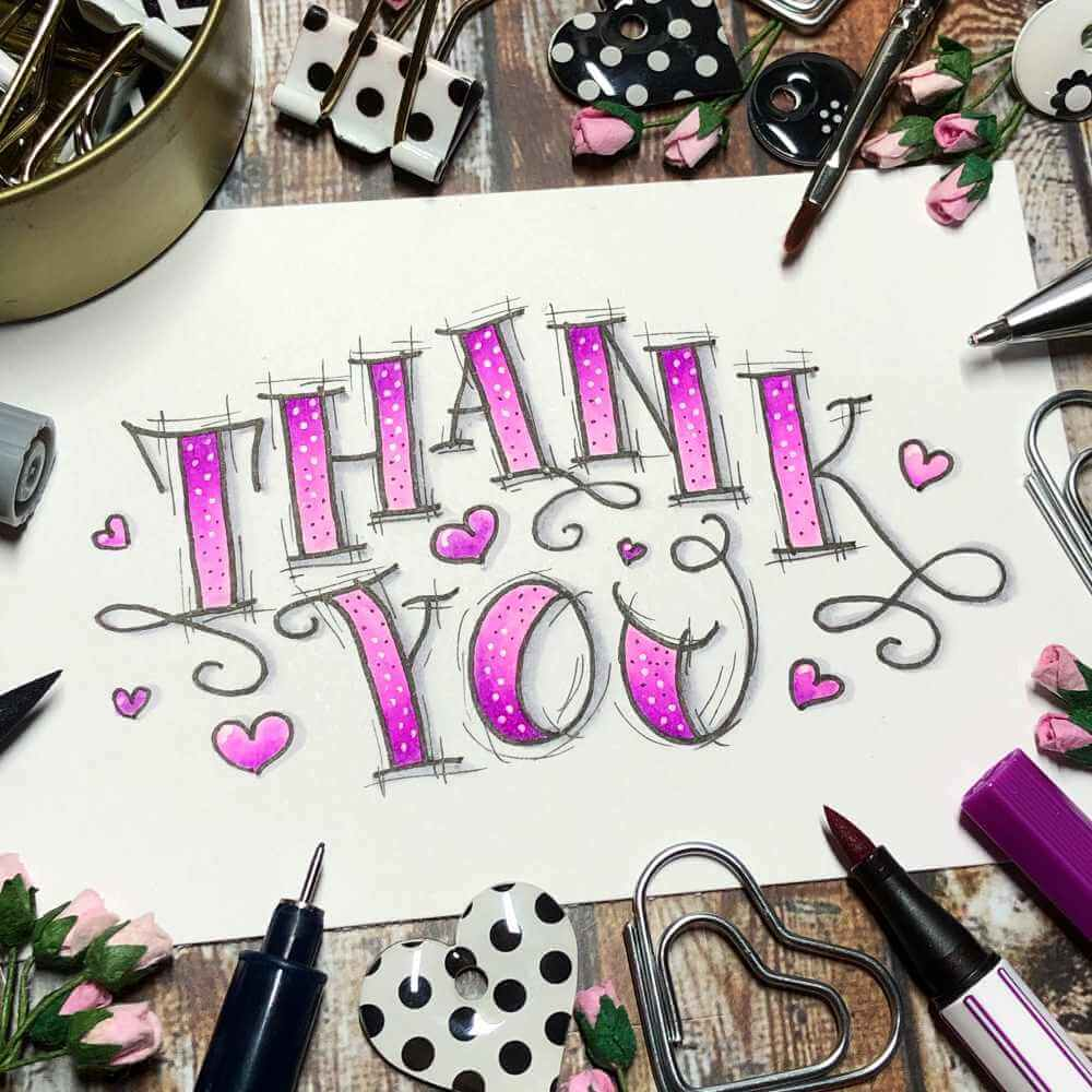 violettes Handlettering mit Verlauf und Punkten: Thank you