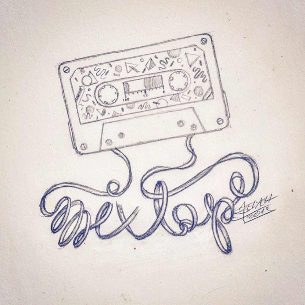 mixtape - Lettering mit einer Kassette skizziert